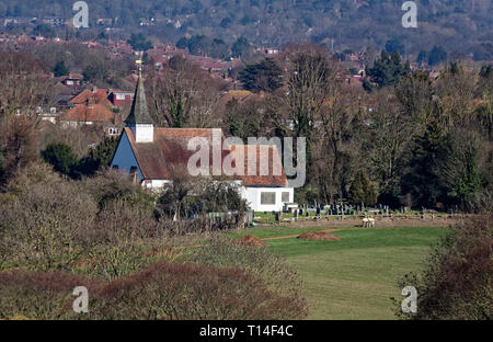 View of the rising spire of  St Mary The Virgin Church in Northolt village, Middlesex - Stock Image