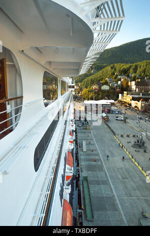 Sept 17, 2018 - Ketchikan, AK: Elevated view of side of cruise ship The Volendam in port, early evening from upper exterior deck. - Stock Image