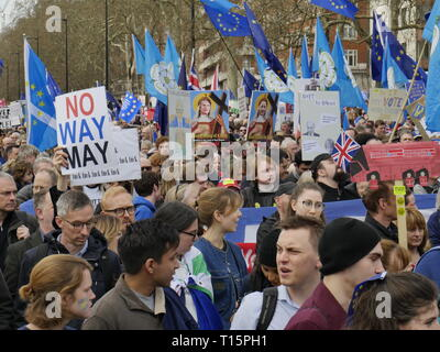 London, England. 23rd March, 2019.  Thousands of people march to Westminster to demand a second referendum on whether or not Britain should leave the EU.  Credit: Anna Stowe/Alamy Live News - Stock Image