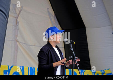 Bristol, UK. 14th October, 2017. Clare Moody, Labour MEP for South-West England and Gibraltar,  speaks at an anti - Stock Image