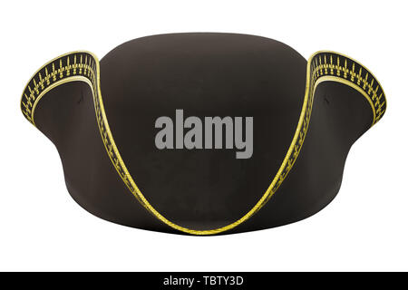 Tricorne Cocked Hat of Classic Style. Front view. 3D render Illustration isolated on a white background. - Stock Image