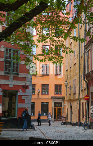 Towards Kopmangatan in the Old Town of Stockholm, Sweden - Stock Image