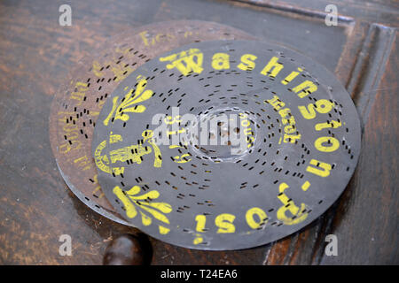 Metal plates for a Symphonion Music Box in the Victorian House at Milton Keynes Museum, Wolverton and Greenleys, in Milton Keynes, Buckinghamshire, UK - Stock Image