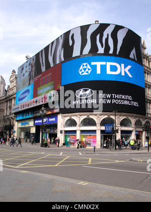 Electronic billboard at Piccadilly Circus London - Stock Image