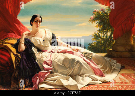 Portrait of Leonilla, Princess of Sayn-Wittgenstein-Sayn by Franz Xaver Winterhalter, German, 1843; Oil on canvas; - Stock Image
