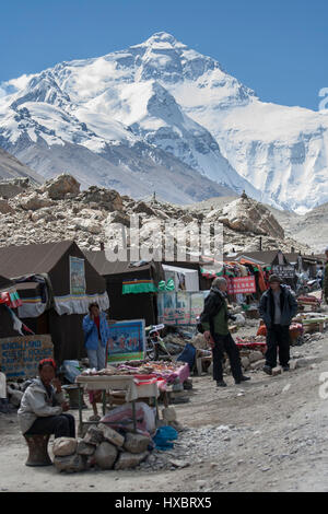 Tent shops at the Tourist North Base Camp of Mount Everest - Stock Image