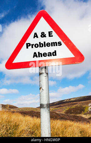 UK A & E A&E accident and emergency hospital problems ahead sign concept conceptual closures closing downgrading - Stock Image