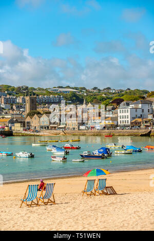 St Ives Smeatons Pier Beach, Cornwall, England, UK | Smeatons Pier Strand von St Ives, Cornwall, England, UK - Stock Image