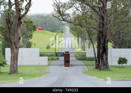 The main entrance to the world class Willinga Park equine facility in the New South Wales, south coast township of Kioloa, Australia - Stock Image
