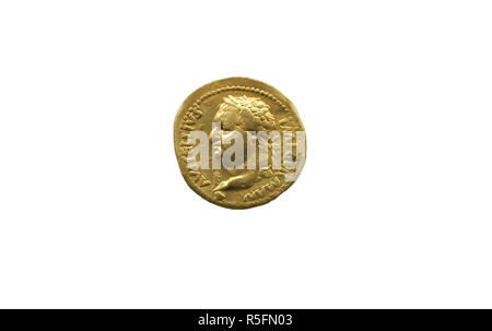 Gold coin depicting the Roman Emperor Vitellius. Isolated over white - Stock Image