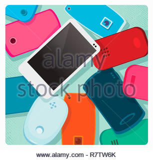 Modern white smart phone standing out from pile of old-fashioned mobile phones - Stock Image