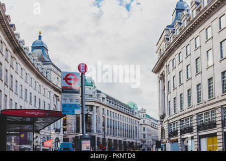 LONDON, UNITED KINGDOM - August 13th, 2018: architecture in London city centre in the famous Regent Street - Stock Image