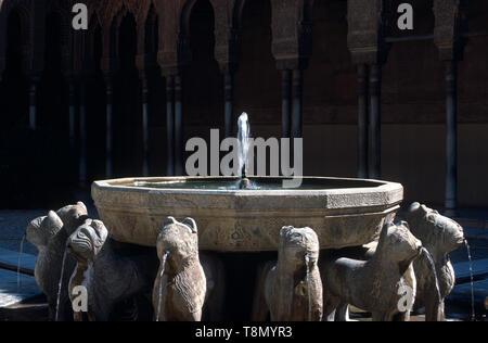Patio de los leones, Alcazar, Granada, Andalucia, Spain, Europe - Stock Image