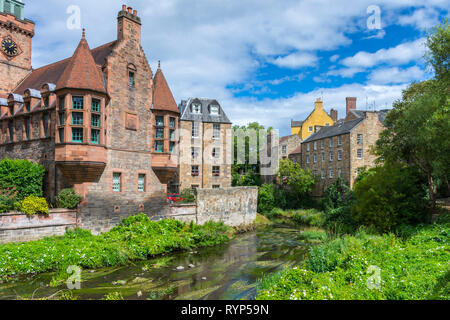 Historic buildings by the Water of Leith, Dean Village, Edinburgh, Scotland, UK - Stock Image