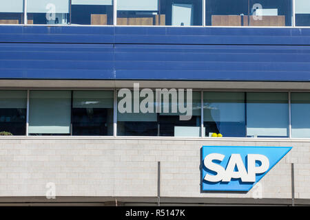 MONTREAL, CANADA - NOVEMBER 5, 2018: SAP logo in front of their main office for Montreal, Quebec. SAP is a German professionnal software development c - Stock Image