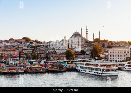 ISTANBUL, TURKEY - AUGUST 14: Istanbul view across the Golden Horn with the Suleymaniye Mosque in the background on August 14, 2018 in Istanbul, Turke - Stock Image