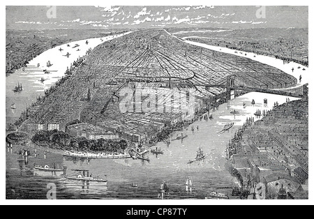 Cityscape of New York, the East River between Manhattan and the Hudson River, historic engraving, 19th Century, - Stock Image