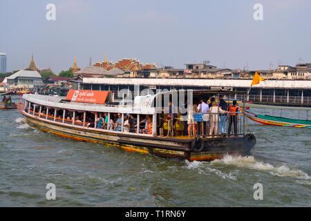 Normal public transportation boat, Chao Phraya river, Bangkok, Thailand - Stock Image