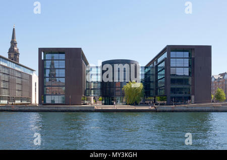 The harbour side of the Danish Tax Ministry building in Copenhagen, Denmark. - Stock Image
