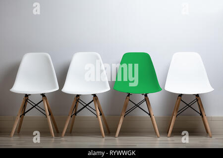 Hiring Concept Of Employees With Empty Chairs In A Row At Office - Stock Image