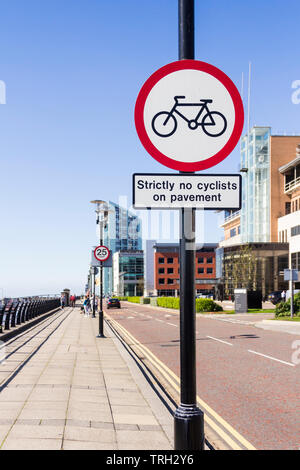 Strictly no cyclists on pavement sign on Princes Parade, adjacent to Princes Dock, on Liverpool's waterfront. - Stock Image