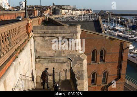 Jacob's Ladder steps that overlooks the town of Ramsgate, on 8th January 2019, in Ramsgate, Kent, England. The Port of Ramsgate has been identified as a 'Brexit Port' by the government of Prime Minister Theresa May, currently negotiating the UK's exit from the EU. Britain's Department of Transport has awarded to an unproven shipping company, Seaborne Freight, to provide run roll-on roll-off ferry services to the road haulage industry between Ostend and the Kent port - in the event of more likely No Deal Brexit. In the EU referendum of 2016, people in Kent voted strongly in favour of leaving th - Stock Image