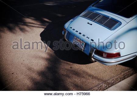 Rear end of a Californian registered pale blue Porsche 912 automobile. Solana Beach (San Diego County), California, - Stock Image