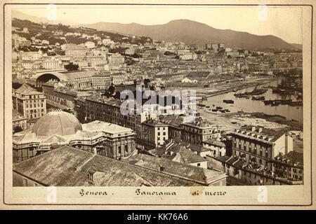 Panorama di Mezzo Port, Genoa, ca 1870, by Celestino Degoix - Stock Image
