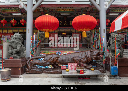 A statue pof the Tiger God at Putian Temple in Hsinchu, Taiwan. - Stock Image