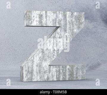 Concrete Capital Letter - Z isolated on white background. 3D render Illustration - Stock Image