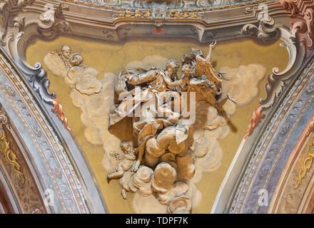 COMO, ITALY - MAY 8, 2015: The stucco of prophet Daniel in in cupola of church Santuario del Santissimo Crocifisso by Gersam Turri (1927-1929). - Stock Image