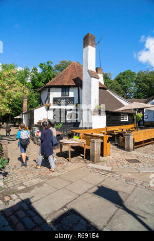 St Albans UK, view of the historical Ye Olde Fighting Cocks pub - public house - in St Albans, Herfordshire, England, UK. - Stock Image