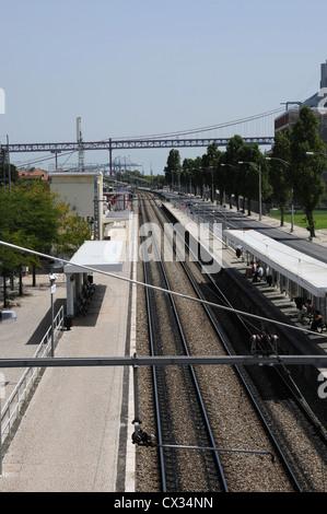 Belem Railway Station, Lisbon, Portugal - Stock Image
