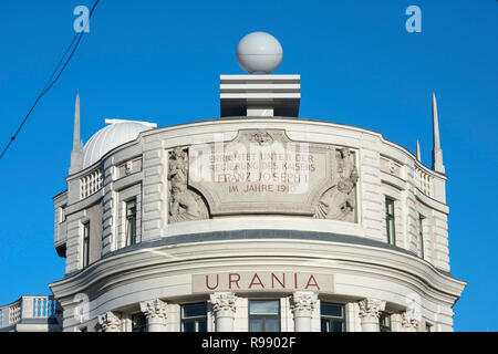 Urania Observatory, designed in 1910 by art nouveau architect Max Fabiani, the Urania building in Vienna now functions as an observatory and a cinema. - Stock Image