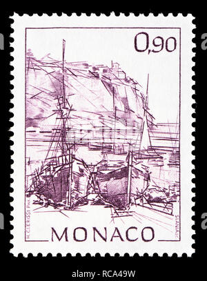 Monaco postage stamp (1992): Early Views of Monaco definitive series: Ships in the harbour - Stock Image