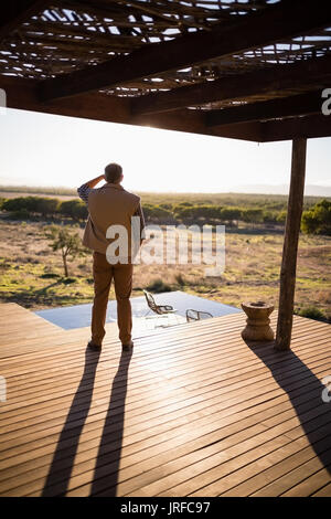 Rear view of man looking at distance - Stock Image