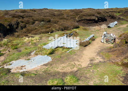 Remains of a US Liberator aircraft which crashed in 1944, on Mill Hill, near Glossop, Peak District, Derbyshire, England, UK. - Stock Image