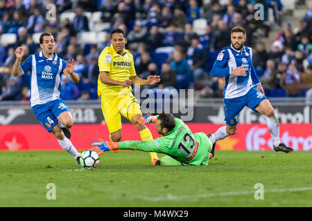 Barcelona, Spain. 18th Feb, 2018. RCD Espanyol goalkeeper Diego Lopez (13), RCD Espanyol midfielder Victor Sanchez - Stock Image