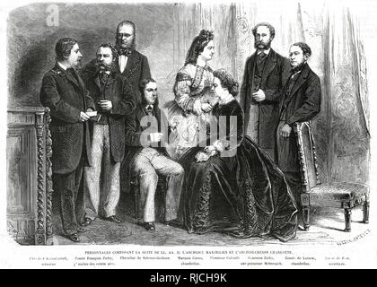 The component people that made up Archduke Maximilian and Archduchess Charlotte's suite (Left to Right). Knight Kuhachevich, Treasurer. Count Francois Zichy, Master of Ceremonies. Knight of Scherzenlechner. Marquis Coreo, Chamberlain. Countess Colonitz. Countess Zichy, Princess of Metternich. The Count of Lutzow, Chamberlain. Baron de Pont, Secretary. - Stock Image