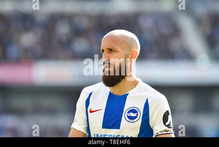 Bruno of Brighton on his last game  during the Premier League match between Brighton & Hove Albion and Manchester City  at the American Express Community Stadium 12 May 2019 Photograph taken by Simon Dack  Editorial use only. No merchandising. For Football images FA and Premier League restrictions apply inc. no internet/mobile usage without FAPL license - for details contact Football Dataco - Stock Image