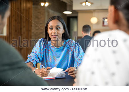 Mid adult woman with notebook during meeting - Stock Image