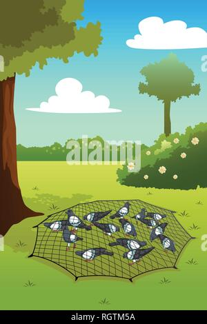 A vector illustration of Pigeons Trapped on Ground - Stock Image
