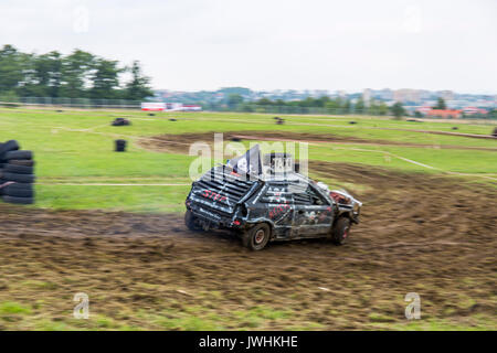 Bielsko-Biala, Poland. 12th Aug, 2017. International automotive trade fairs - MotoShow Bielsko-Biala. Wreck car on a curve. Credit: Lukasz Obermann/Alamy Live News - Stock Image