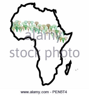 Digital Illustration - Map of Africa with a strip of trees crossing the Southern Sahel. The Great Green Wall, or Great Green Wall of the Sahara and th - Stock Image