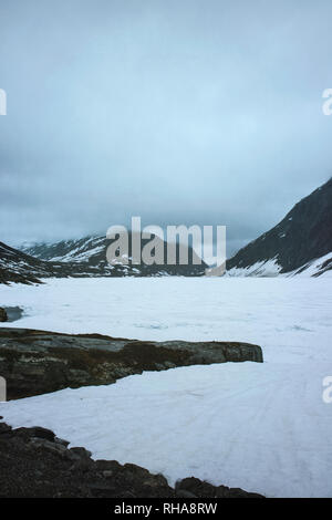 Mountain landscape in winter, Oppland, Norway - Stock Image