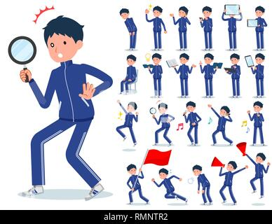 A set of school boy in sportswear with digital equipment such as smartphones.There are actions that express emotions.It's vector art so it's easy to e - Stock Image