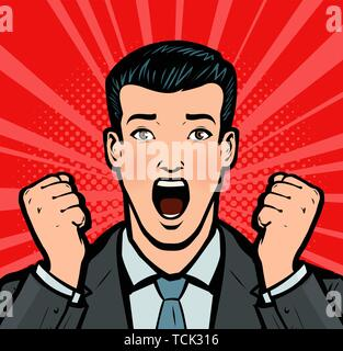 Businessman with open mouth in amazement. Business concept in pop art retro comic style. Cartoon vector illustration - Stock Image