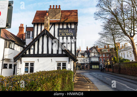 Rose and crown Beverley pub Tudor building architecture Beverley town Yorkshire UK England pubs bars UK - Stock Image