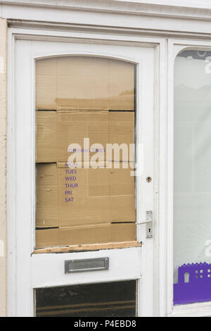 Closed vacant shop in Truro, Cornwall, Metaphor for high street decline, UK retail crisis, high street crisis. - Stock Image