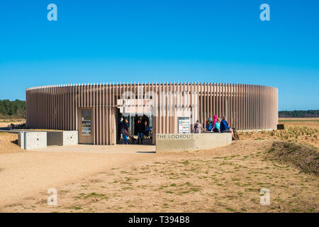 The Lookout is a brand new visitor centre and restaurant at Holkham National Nature Reserve and beach. North Norfolk coast, East Anglia, England, - Stock Image